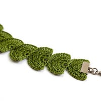 Green Leaf Braclet Crochet Lace Boho Chic Hippie Gypsy Style Jewelry Circle Flower Lace Doily