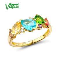 VISTOSO Ring Womens Fine Jewelry Rings Colorful Natural Gem Stones Ring Female 925 Sterling Silver Rings Lord Of The Rings Gife