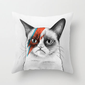 Grumpy Cat as Grumpy Bowie, David NOie Throw Pillow by Olechka | Society6