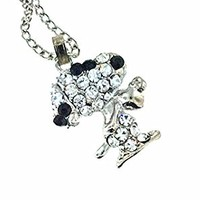 Peanuts Snoopy Crystal NECKLACE Silver Plated Charlie Brown Love Heart
