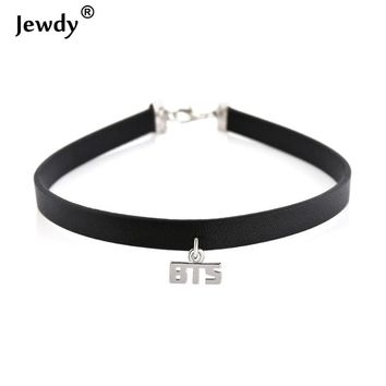 Ocean 2017 New KPOP EXO Monster Gothic Punk Black BTS Leather Choker Necklace KPOP Bangtan Boys Collar Collette Necklace Jewelry