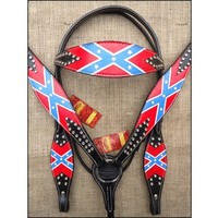 HILASON WESTERN LEATHER HORSE BRIDLE HEADSTALL BREAST COLLAR CONFEDERATE FLAG