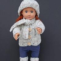Hand Knit Five-Piece Set for 18 Inch Fashion Doll in Cream, Handmade Cardigan with Wood Buttons, Hat, Scarf And Leg Warmers, Doll Winter Set