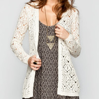 Full Tilt Open Weave Crochet Womens Cardigan Cream  In Sizes
