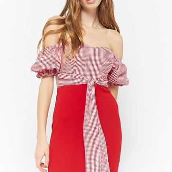 Off-the-Shoulder Gingham Combo Dress