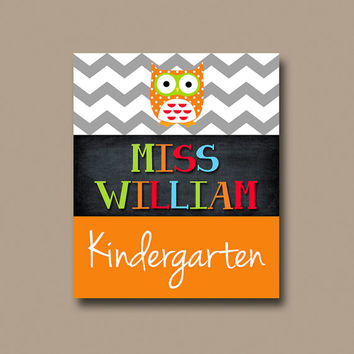 Owl Teacher Chalboard Name Sign Chevron Back to School Gift Personalized - Classroom Decor/Gift - Wall Art CANVAS or Prints