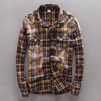 FLANNEL SHIRT Men's Vintage Plaid Slim Fit Long Sleeve Casual