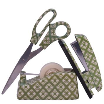 Lady Jayne Stapler, Tape Dispenser, Stapler & scissor set, ikat green
