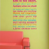 Life Is Short Subway Art Vinyl Decal - Great for a teen girl bedroom