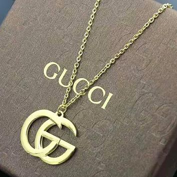 GUCCI Fashion New Letter Chain Women Men Necklace Accessories Golden
