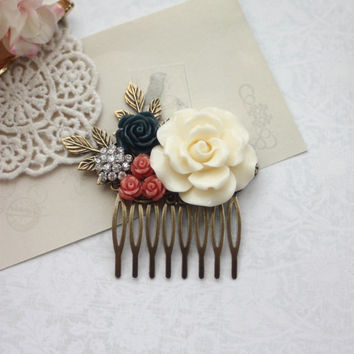 Large Cream Ivory Rose, Coral, Navy Blue, Rhinestone, Diamante, Leaf Sprig Hair Comb. Bridesmaid Gifts. Coral Blue Vintage Inspired Rustic