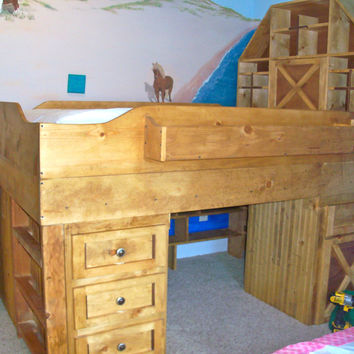 Kids loft bed, Kids barn bed, Kids furniture, The Farm barn bed for Kids