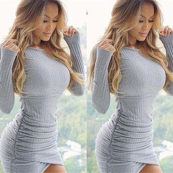 DCCKV3X Solid Color Long Sleeve Bodycon Irregular Slim Fit Mini Dress Knitwear