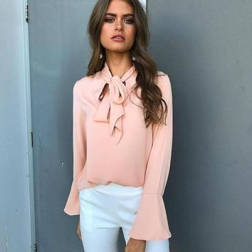Hot Women's Long Flare Sleeve Blouse Chiffon Solid Colors Top Shirts - Pink