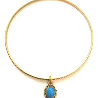 Pendant Charm Bracelet - Alex and Ani Inspired - Gold Jewelry - Stacking Bangles - Blue Pendant Charm