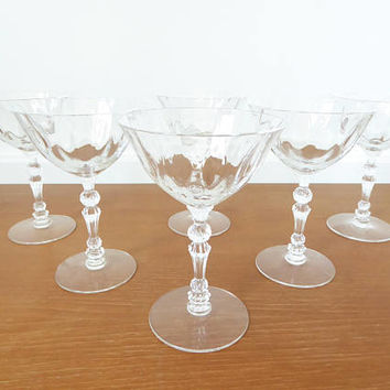Six Fostoria Niagara champagne or tall sherbet glasses circa 1950