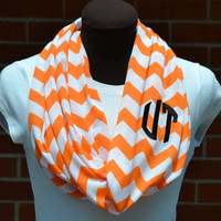 Monogrammed Chevron Infinity Scarf Orange & White Game Day