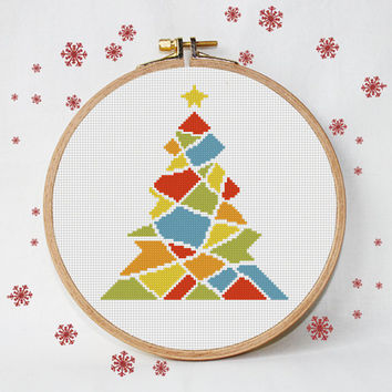 christmas cross stitch pattern, triangles, colorful tree, modern christmas tree, modern cross stitch, instant download, PDF pattern