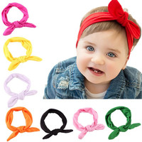 Stylish 1Pcs Infant Kids 8Colors Elastic Rabbit Bow Ear Hairband Turban Knot Head Wraps For baby girls Headband accessories DP5