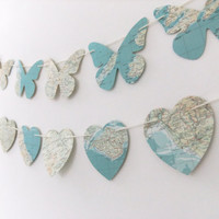 Bunting - butterfly bunting - paper bunting - recycled banner - home decor - garland - wedding decor - party decoration