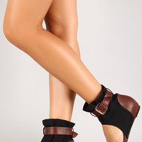 Wrapped Ankle Hidden Wedge Sandal