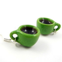 Green Coffee Cups on Sterling Silver Earrings by MistyAurora