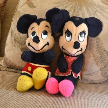 Mickey and Minnie Mouse Plush Toys Vintage 70's