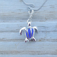 Blue Sea Glass Turtle Locket Cobalt Blue Cornflower Honu