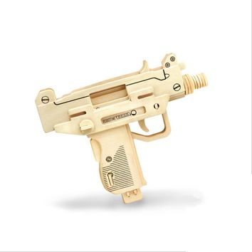 Wooden Model Kit 3D Diy Wood Uzi Pistol Toy Puzzle Best Gift For Boys Gun Toy