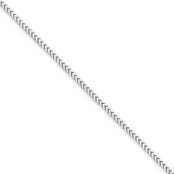 1.3mm, 14k White Gold, Solid Franco Chain Necklace, 16 Inch