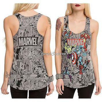 Licensed cool Marvel AVENGERS Group Comic Color POPS Tank Top Thor Hulk Iron Man C America Red