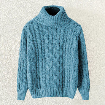Blue Turtle Neck Knitted Pullover