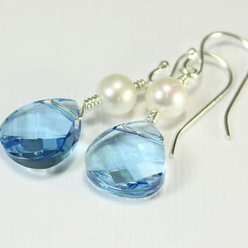 Aquamarine Earrings Sterling Silver - Freshwater Pearl and Swarovski Crystals - Bridesmaid Gift, Bridal Jewelry