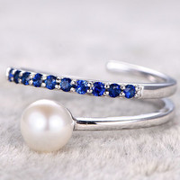 6mm Akoya pearl ring sapphire engagement ring Seawater pearls thin pave 14k/18k white gold