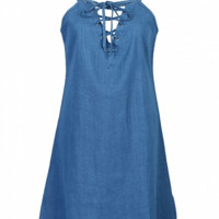 Blue Lace Up Front Cami A-line Dress