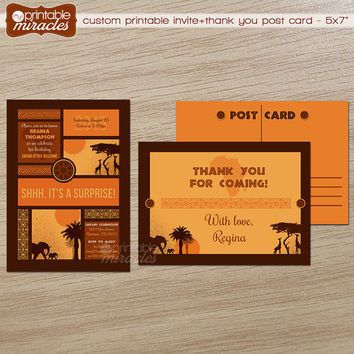 Safari surprise birthday invitation / Printable African theme party invite, Safari surprise party invitation, customized, printable