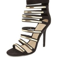 Gold-Plated Strappy High Heels by Charlotte Russe - Black