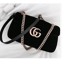 GUCCI Trending Women Stylish Double GG Metal Chain Crossbody Satchel Shoulder Bag Black I