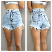 Acid Wash High Waisted Denim Cutoff