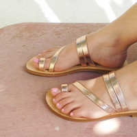 Metallic, mirror, handmade leather sandals in Rose Gold leather
