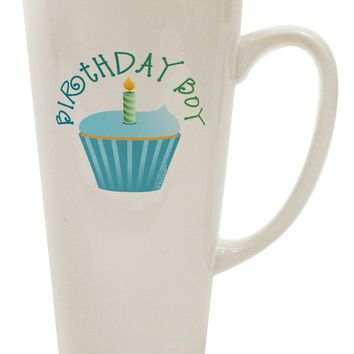Birthday Boy - Candle Cupcake 16 Ounce Conical Latte Coffee Mug by TooLoud