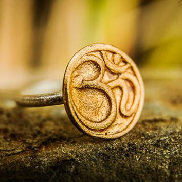 Bronze Jewelry | Bronze OM Symbol Silver Band Ring