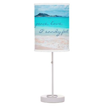 """Sandy feet"" quote turquoise beach table lamp"