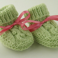 Cute Hand Knit Baby Booties Spring Green Newborn
