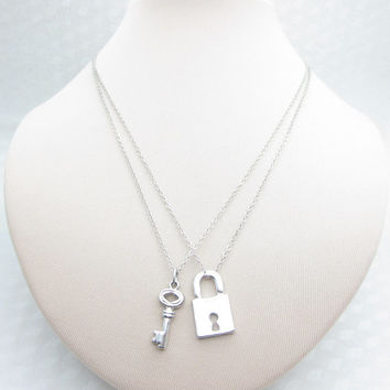 Lock and Key Necklaces, Pair of Necklaces, Bestfriend Necklaces, Couples Necklace, His and Hers, Hers and Hers, SIlver Lock and Key X044