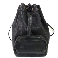 Vintage Black Backpack Genuine Leather Drawstring Hobo Shoulder Bag
