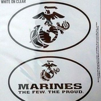 Marines 2-Pack EURO STYLE Home Auto Decals United States US Military Marine Corp