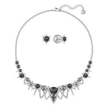 Swarovski Jewelry Set Necklace & Earrings FANTASTIC, Rhodium Plated -5259472