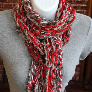 OSU Scarf - The Ohio State Buckeyes Scarlet and Gray Chunky Crochet Fringe Knotted Infinity Metallic Yarn Scarf - Team Attire! Go Buckeyes!!