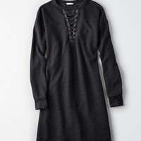 AE Cutout Lace-Up Sweatshirt Dress, True Black